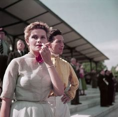Gen X girl, Colette Laurent, at the Chantilly racetrack, France, 1952, from Capa in Color | Excerptional color
