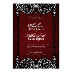 Gothic Victorian Spooky Red, Black & White Wedding Custom Invitation #wedding #invitations