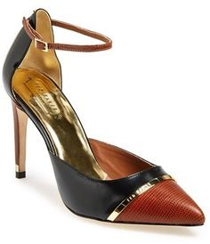 Ted Baker London 'Grovenoir' Ankle Strap Pump (Women), A logo-etched goldtone band accents the pointy cap toe of a striking leather d'Orsay sandal topped with a slender ankle strap.