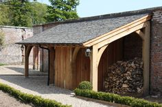 Oak Framed Lean-too : Rustic style hotels by Architects Scotland Ltd Curved Pergola, Wood Pergola, Pergola Ideas, Porch Canopy, Dry Garden, Shade Canopy, Patio Shade, Lean To, Garden Buildings