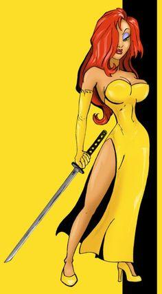 jessica rabbit as the bride from Kill Bill -- for more comic girls, visit my board http://pinterest.com/davidos193/retro-comic-girls/
