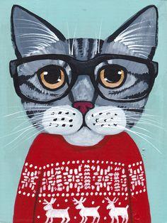 CAT in Ugly Christmas Sweater Original Folk Art Painting