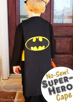 No-sew superhero cape made from a t-shirt. So easy! A perfect last-minute Halloween costume for kids. #MichaelsMakers
