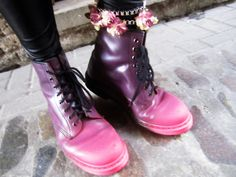 Spray painted tip doc martens.