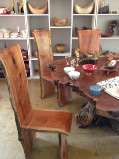 From Ishq store in Malawi. Free form wood furniture (dining room)