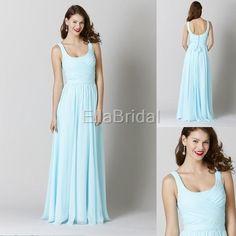 Wholesale Simple Bridesmaid Dress - Buy Mint Chiffon A Line Floor Length U Shape Neckline Bridesmaid Dreses Wedding Guest Dress Style 28133, $83.77 | DHgate