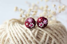 Red Stud Earrings, burgundy earrings, tiny minimalist, red floral, dark red studs, marsala, red flower studs Small, polymer clay, everyday