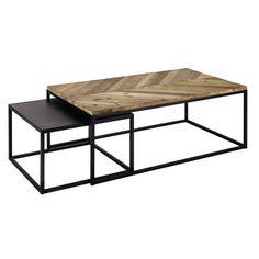 2 tables basses gigognes en bois recyclé et métal L 60 cm et L 120 cm