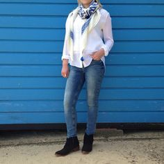 #OutfitOfTheDay - JOSEPH Top, MiH Jeans, Becksondergaard Scarf, Hudson Shoes!  #southwold #suffolk #aldeburgh #burnham #collenandclare #ootd