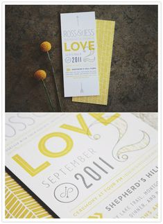 Invitation and program inspired by billy bobs. Nice pops of color and patterns.