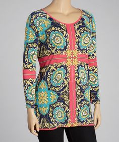Blue & Fuchsia Status Tunic by India Boutique on #zulily