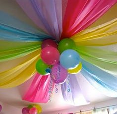 Dollar store plastic tablecloths for great decorations.. First birthday party ofeas