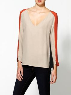 Aryn K. Silk Trim Colorblock Blouse