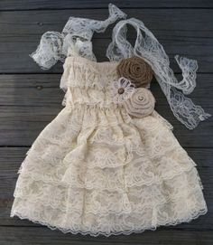 Rustic Ivory Lace Flower Girl Dress/Country Wedding