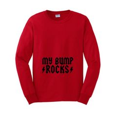 My Bump Rocks Rock and Roll Funny Pregnancy Long Sleeve T-Shirt (NOT Maternity Sized) Pregnant Cute Sexy Humor Baby Shower Gift Present Portrait Expecting Mother Mommy Long Sleeve Tee XL Red