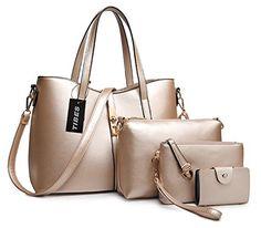 Tibes Fashion Women's PU Leather Handbag+Shoulder Bag+Purse+Card Holder 4pcs Set Tote $49.49