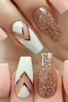 Nail Designs for Spring Winter Summer Fall. 42 Nail Art Ideas All Girls Should Try Long Nail Designs, White Nail Designs, Nail Designs Spring, Beautiful Nail Designs, Acrylic Nail Designs, Nail Art Designs, Pink Acrylic Nails, Glitter Nail Art, Pink Nails