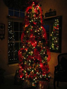 tree with red ribbon & white lights