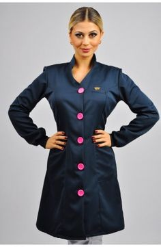 Jaleco Pretty Cool -  Azul Marinho com Botão Pink