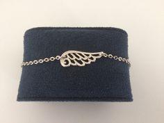 Bracelet femme chaîne et intercalaire aile d' ange argenté vieilli : Bracelet par chezchris