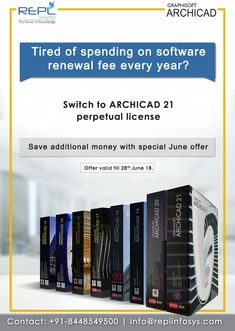 Tired of spending on software renewal fee every year. Switch to ARCHICAD 21 perpetual license. Save additional money with special June offer. Offer valid till June For more information Kindly Contact: Contact Us, Tired, Software, June, Architecture, Arquitetura, Architecture Design