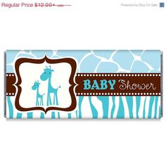 ON SALE Set of 12  Blue Wild Safari Baby Shower by TheWrapperPress