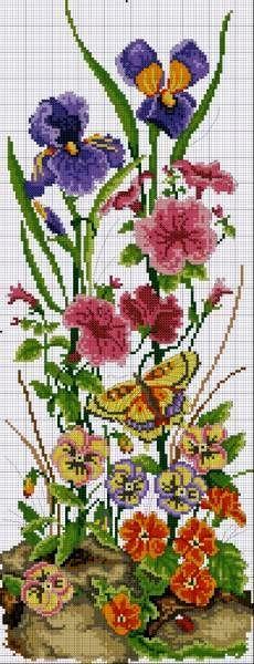 Ниточка - иголочка: Вышивка крестом Cross Stitch Embroidery, Counted Cross Stitch Patterns, Cross Stitching, Hand Embroidery, Butterfly Cross Stitch, Cross Stitch Flowers, Filet Crochet, Le Point, Flora Pattern