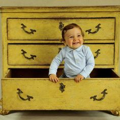 Whoo hoo!  Love, love, love the tilted handles and that awesome baby too! Annie Sloan English Yellow and dark wax! | Love