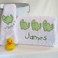 A Dinosaur Bath Towel set #baby-bath-towels #kids-birthday-gift #kids-personalised-gift #personalised-baby-gift #personalised-baby-towels #personalised-bath-towel