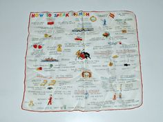 Vintage Hanky How to Speak Spanish Handkerchief Hankie