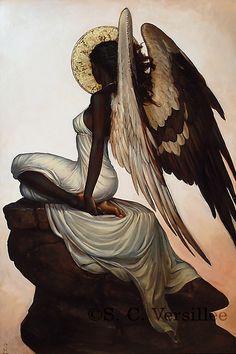 Seraphim II: High Vigil by Oil Painter . Black Love Art, Black Girl Art, Art Girl, Black Art Painting, Black Artwork, African American Art, African Art, Arte Do Harry Potter, Black Art Pictures