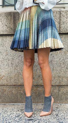 pleated skirt and heels worn with socks Source by souchi socks shoesA pleated skirt and heels worn with socks Source by souchi socks shoes University of Florida Gators Striped Dress game day college Socks Outfit, New York Fashion Week Street Style, Socks And Heels, Star Fashion, Womens Fashion, Pumps, Estilo Retro, Fashion Socks, Ladies Dress Design