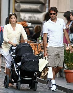 Tennis champ Roger Federer and family stroll through the streets of Italy with a City Select and Second Seat. City Select Double Stroller, Baby Jogger City Select, Best Baby Strollers, Double Strollers, Roger Federer Family, Jogging Stroller, Twin Boys, Celebrity Babies, We The People