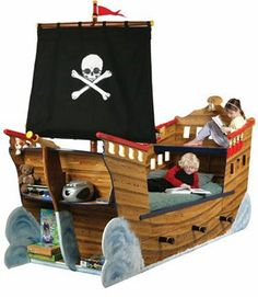What better way to get a child into bed than by giving them a pirate ship bed? Take a look at our varying designs and see how we build pirate ship bedrooms. Pirate Bedding, Pirate Bedroom, Pirate Ship Bed, Pirate Ships, Weird Beds, Crazy Beds, Boy Room, Kids Room, Cool Kids Bedrooms