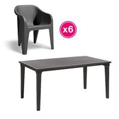 Salon de jardin: table FUTURA graphite + 6 fauteuils ALMERIA Graphite