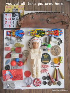 Vintage Junk Drawer Toy Box Gumball Machine Cracker Jack Cowboy Game Piece Altered Art LOT