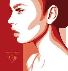 by sergemalivert on DeviantArt Vector Portrait, Portrait Art, Portrait Illustration, Digital Illustration, Fantasy Illustration, Monochromatic Art, Arte Pop, Stencil Art, Face Art