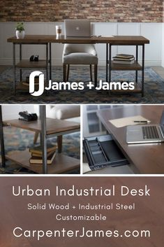 Complete your office with this open concept desk customizable in the size and color you need. With Open Shelving, Smooth Top, Made by hand, Solid Steel, and Rustic Natural Character - this is the ultimate office desk! Visit CarpenterJames.com to customize your office furniture. #workfromhome #officegoals #statementdesk #rusticdesk #solidwooddesk #steeldesk #desk #homeoffice #northwestarkansas #jamesandjamesfurniture Solid Wood Desk, Solid Wood Dining Table, Solid Wood Furniture, Dining Furniture, Wood Table, Custom Furniture, Office Furniture, Office Desk, Rustic Desk