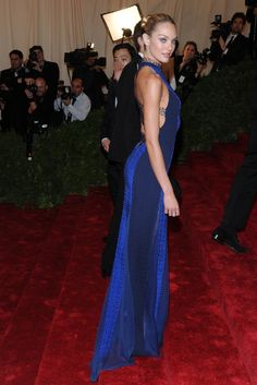 On the Red Carpet at the Costume Institute Gala: Candice Swanepoel in Rag & Bone.    Photo by KSW