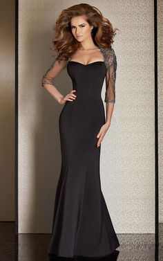 Sweetheart Mermaid Floor-length Satin Prom Dress Black With 3/4-Length Sleeves