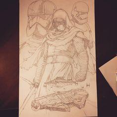 Captain Phasma, Kylo Ren, Finn and of course the Millennium Falcon by Raymond Gay 11x17  Pencils: pentel graphgear .5 and prisma pencils #pencildrawing #starwarsfanart #captainphasma #kyloren #finn #milleniumfalcon #tiefighters #stardestroyer #starwarstheforceawakens  #comicart #lineart #episode7 #marvelstarwars #disneyfanart #marvel #knightsofren
