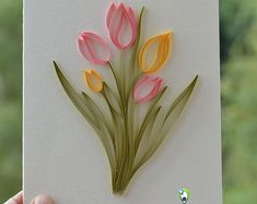 Set of 5 Friendship day Greeting cards, Handmade Card Quilling Card, Quilled Tulip Flower, Love Card Paper Quilling - DIY Blumen Quilled Roses, Paper Quilling Flowers, Paper Quilling Cards, Paper Quilling Patterns, Quilled Paper Art, Quilling Flowers Tutorial, 3d Paper, Neli Quilling, Quilling Paper Craft