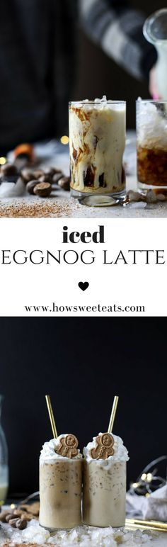 how to make an iced eggnog latte! I howsweeteats.com @howsweeteats