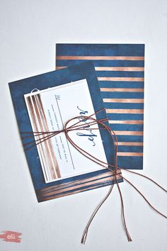 Navy & Copper Wedding Invitations with DIY Copper Cord Bind