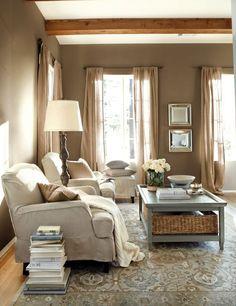 A rustic living room in warm tones