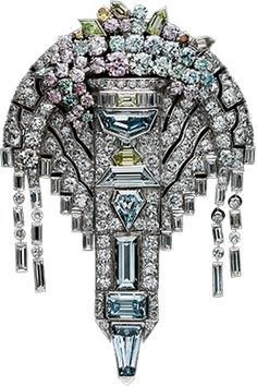 Art Deco Colored & White Diamond Brooch/Pendant , Circa 1925. (Albion Art Collection)