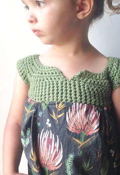 Handmade Cotton Knit & Botanical Print Dress | joretta on Etsy