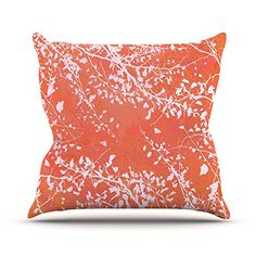 KESS InHouse IL2033COP03 18 x 18-Inch 'Iris Lehnhardt Twigs Silhouette Coral Orange' Outdoor Throw Cushion - Multi-Colour -- You can find more details by visiting the image link. #GardenFurnitureandAccessories