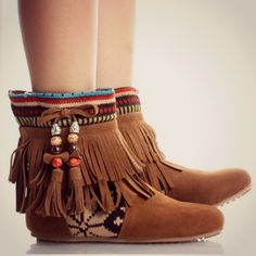 Tribal Fringe Ankle Boots Moccasin Indian Booties Aztec ❤ liked on Polyvore