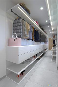 Úzky šatník na mieru, topánky, šaty a kabelky